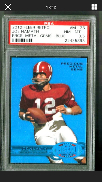 2012 FLEER RETRO JOE NAMATH PRECIOUS METAL GEMS BLUE #M36/50 PSA 8.5