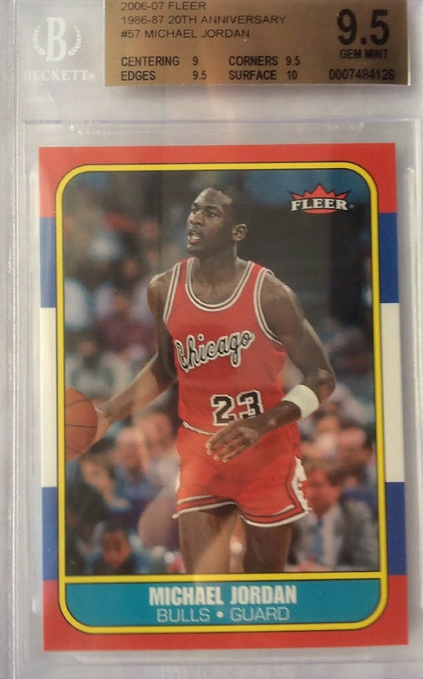 "2006-07 FLEER MICHAEL JORDAN 20th Anniversary 1986-87 RC BGS ""9.5"" VERY RARE SP"