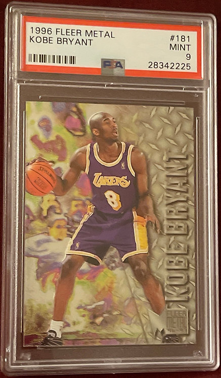 "1996 FLEER METAL KOBE BRYANT ROOKIE PSA ""9"" MINT"