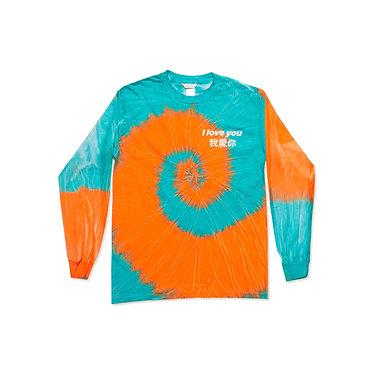 I Love You L/S Tee in Orange Tie Dye