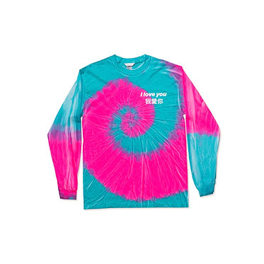 I Love You L/S Tee in Pink Tie Dye