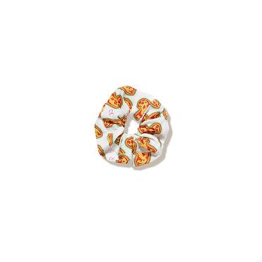 Handsewn Pizza Scrunchie in White