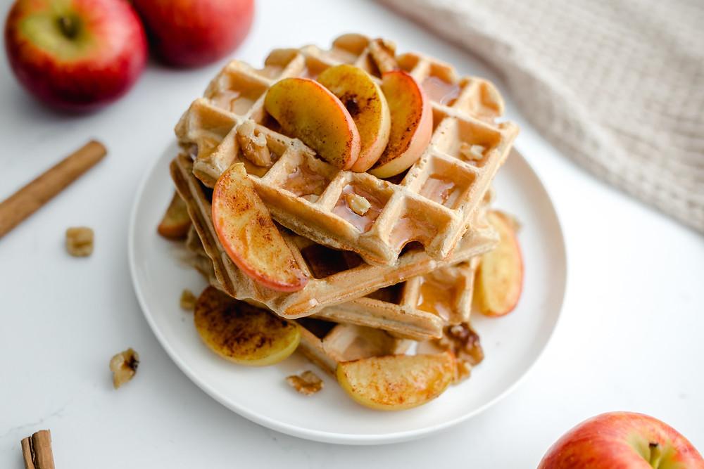 Vegan Apple Cinnamon Protein Waffles