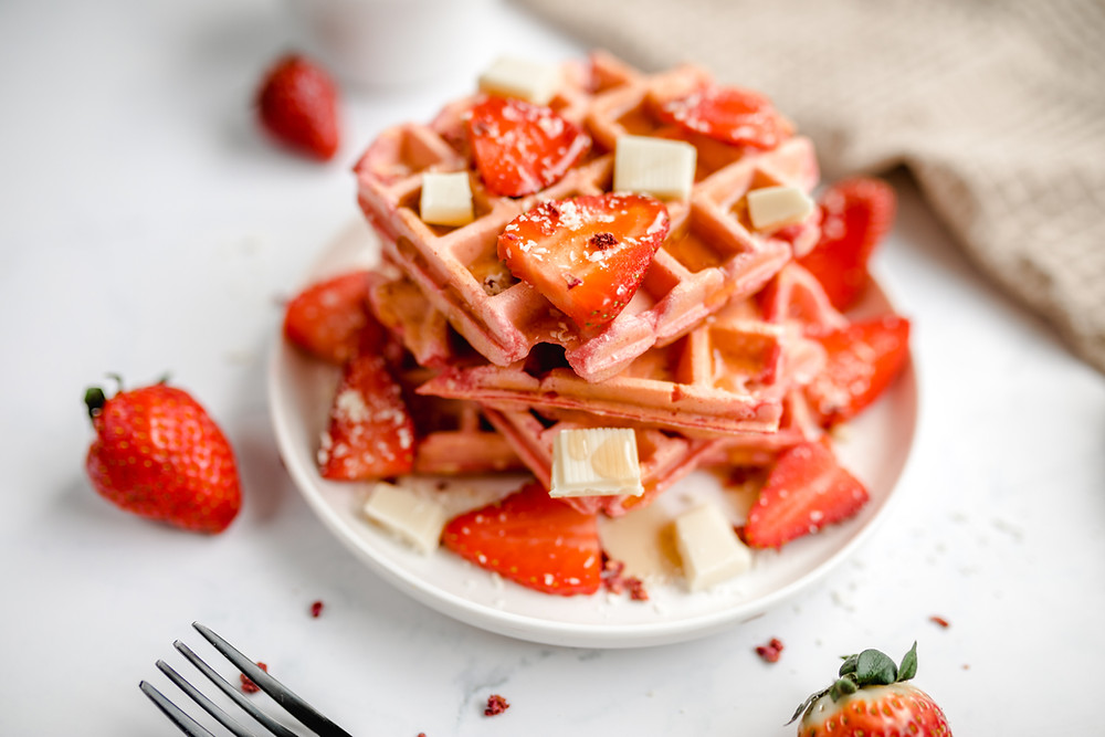 Vegan Strawberry Protein Waffles