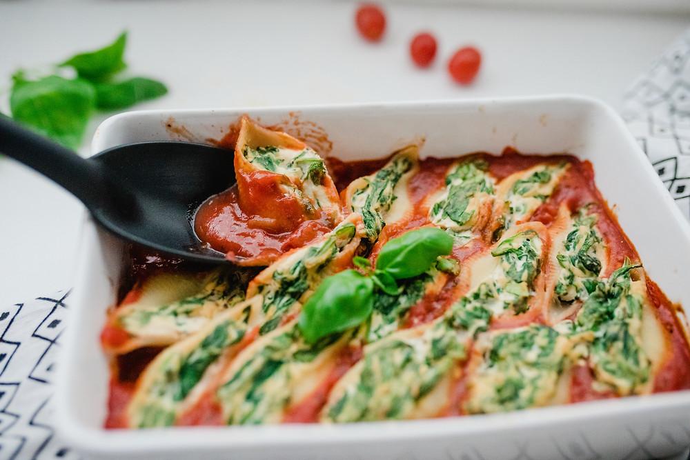 Tofu Ricotta & Spinach Stuffed Shells