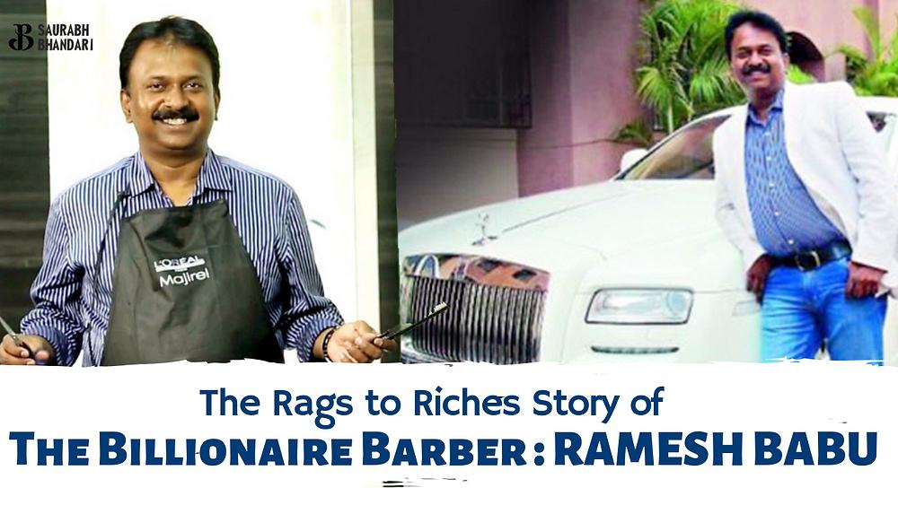 Billionaire Ramesh Babu barber with his luxury Rolls Royce