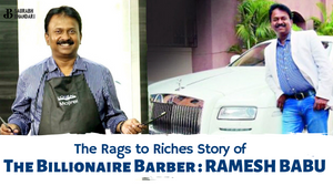Billionaire Ramesh Babu barber with his luxury Rolls Royce