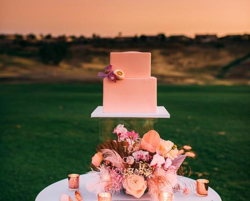 cake at sunset