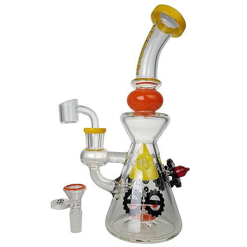 "Cheech Glass Showerhead Perc Swiss Triangle Gear 10.5"" Water Pipe"
