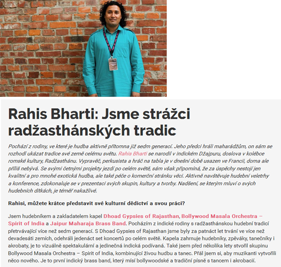 Rahis Bharti - Interview in Czech Re