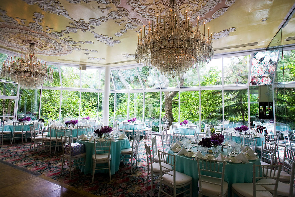 Wedding banqueting room with stunning chandeliers