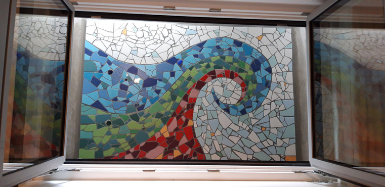 Auftragsarbeit bunte Welle/ comissioned work colourful wave