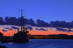 Sunset in Holbaek harbour