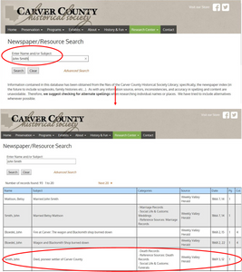 Carver County Historical Society newspaper search page.