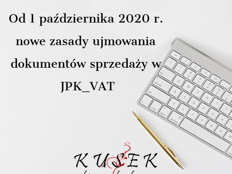 Od 1 października 2020 r. nowe zasady ujmowania dokumentów sprzedaży w JPK_VAT