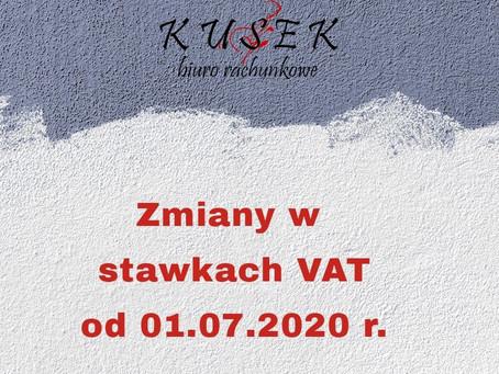 Zmiany w stawkach VAT od 01.07.2020 r.