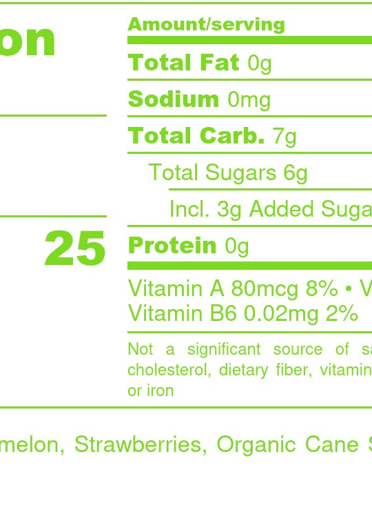 Watermelon-Strawberry Blend Nutrition Facts