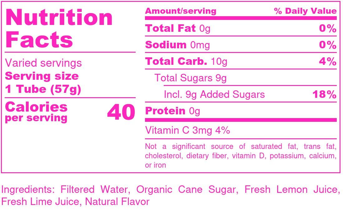 Lemon-Limeonade Blend  - Nutrition Label