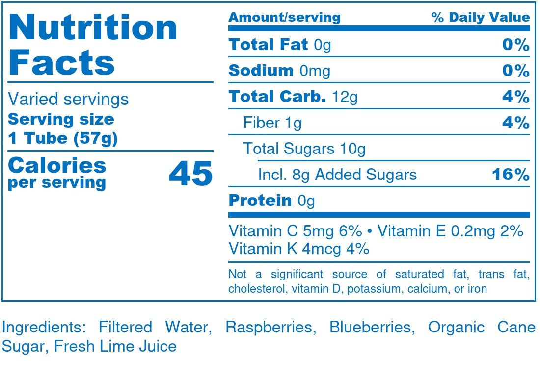 Blue-Raspberry Blend  - Nutrition Label
