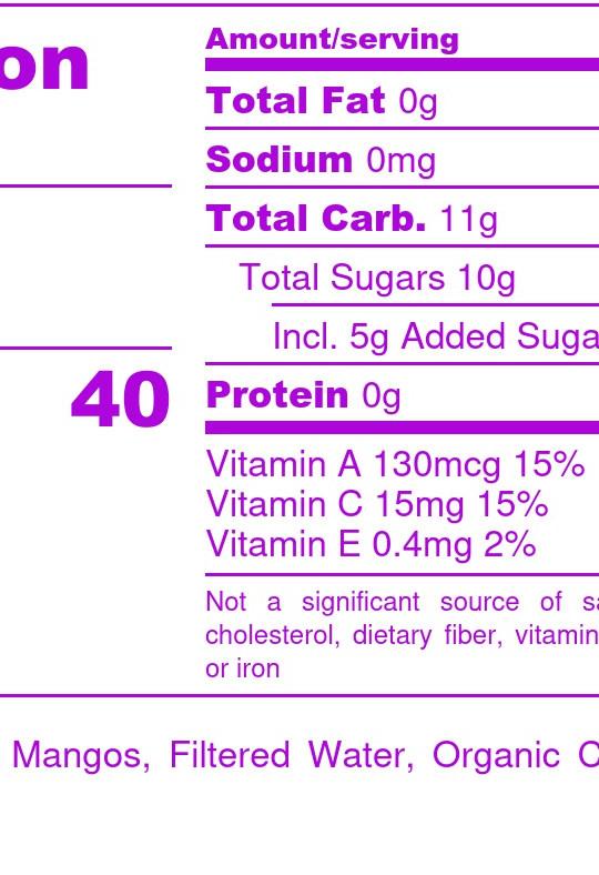 Mango Blend  - Nutrition Label
