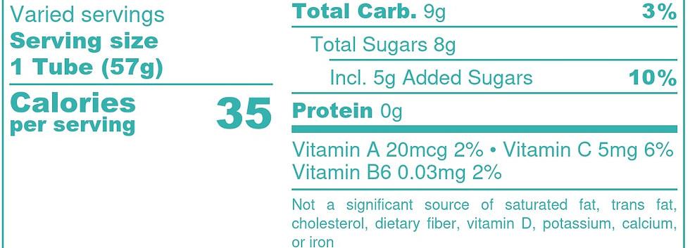 Pineapple-Peach Blend  - Nutrition Label