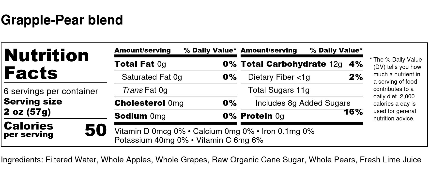Grapple-Pear blend - Nutrition Label (2)