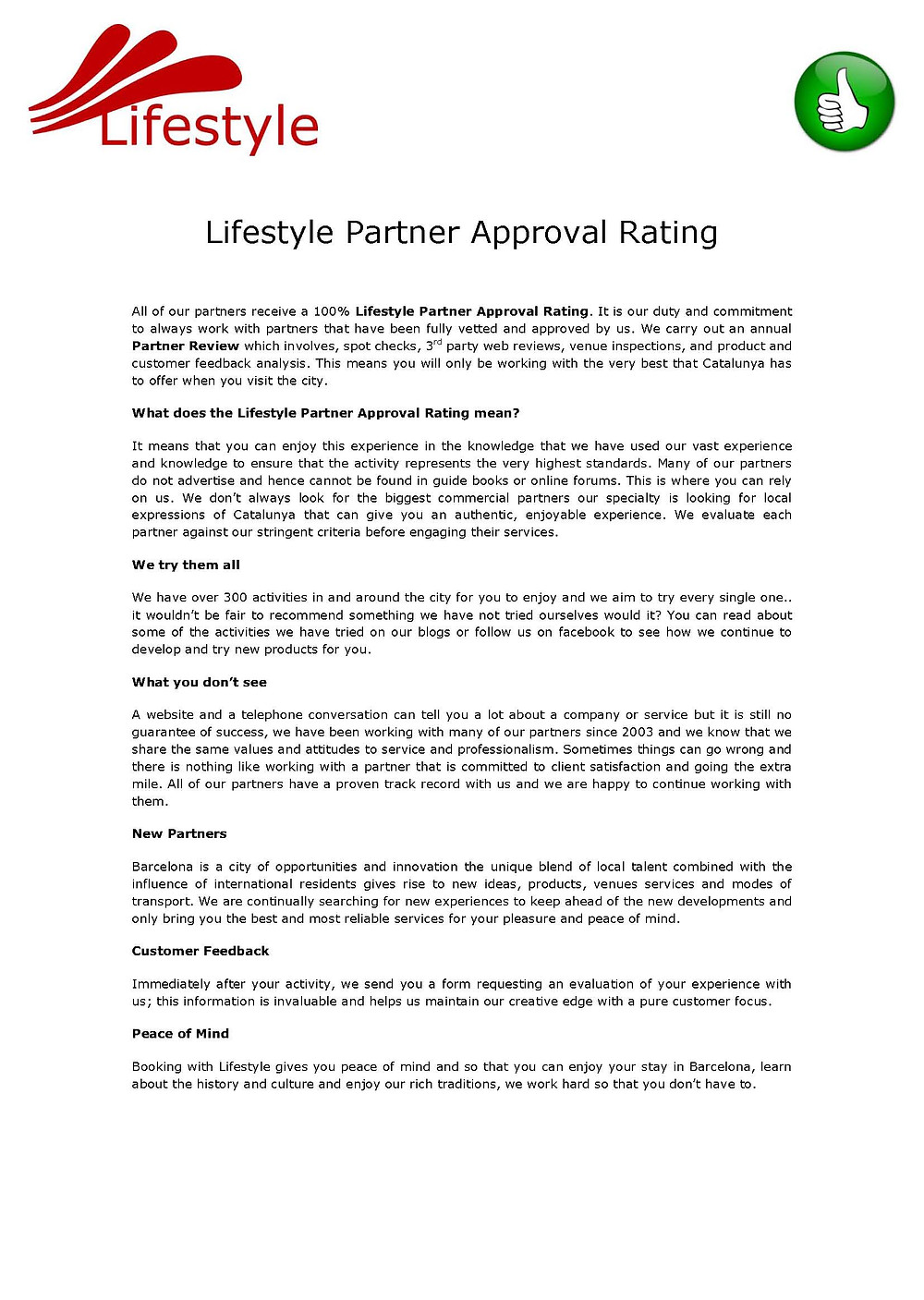 Lifestyle Partner Approval Rating