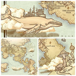 fantasy map border art sky whale