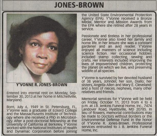 Yvonne Jones Brown - Sister of Dwight Jo