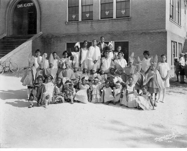 Children in costumes at Davis Acadamy