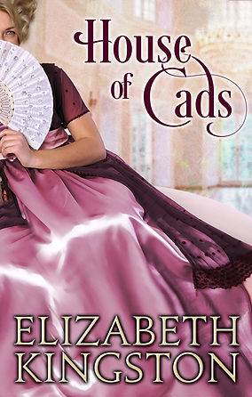 book cover: Fair-skinned woman in Regency gown, coyly peeking out from behind a fan. Colors: pink dress with burgundy lace detail, whte fan, blonde hair on woman, elegant (ivory) house interior as background
