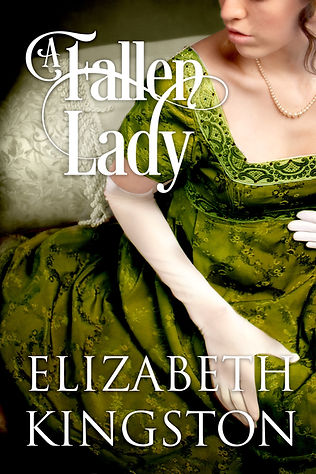 book cover: Fair-skinned woman in a Regency gown, elbow-length gloves, and pearls. Colors: deep green dress, white gloves, light gray background