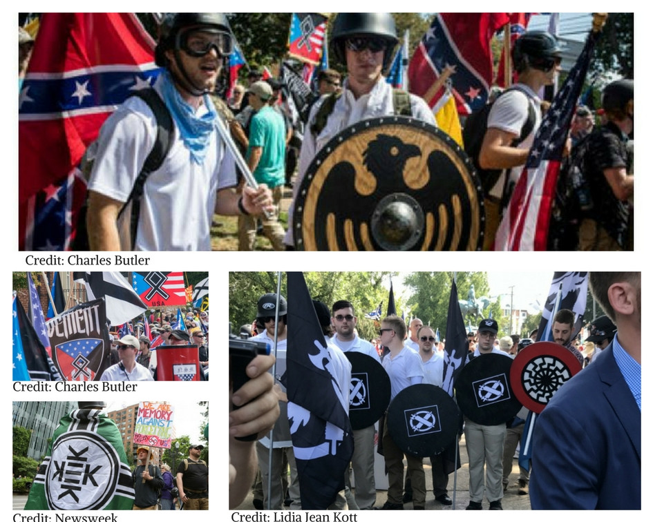Images from Charlottesville rallies show white nationalists carrying shields decorated with the motif of St. Maurice, the sunwheel, the Vinland flag, the othala rune, and other medieval symbols mixed in with the Confederate flag and swastikas