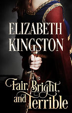 book cover: Fair-skinned woman in medieval gown holding a dagger behind her back. Colors: burgundy and navy dress with gold trim, burnished gold dagger, antique gold lettering, dark gray background