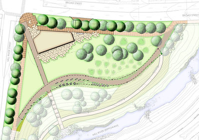 Illustrative Site Plan for New Carousel and Pavilion Building in Mill River Park in Stamford, CT