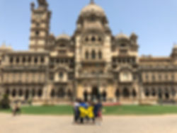 Laxmi Vilas Palace with U Mich Flag.JPG