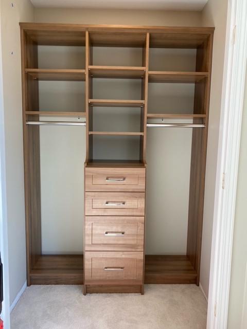 Step closet, hutch, soft close drawers,