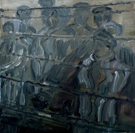 Auschwitz 3 - 2019 - oil on canvas - 20 x 20 cm