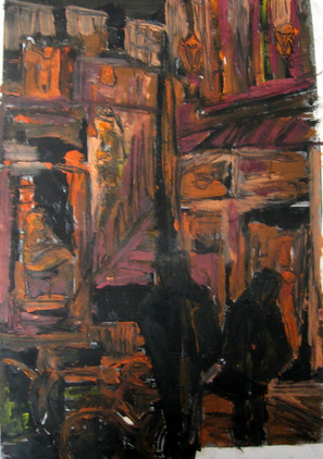 Red Light District Study 1 - 2013 - oil on paper - 42 x 29,7 cm