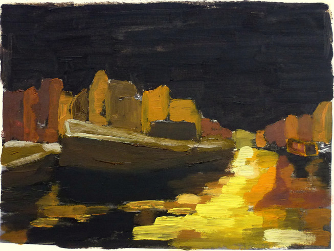Amsterdam Canal Study 1 - 2011 - oil on paper - 15 x 20 cm