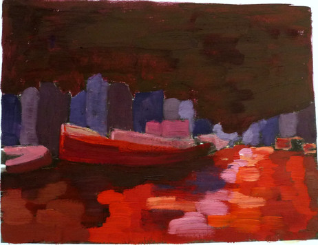 Amsterdam Canal Study 2 - 2011 - oil on paper - 15 x 20 cm