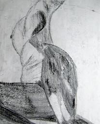 Model 6 - 2008 - chalk on paper - 65 x 50 cm