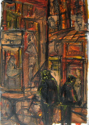 Red Light District Study 2 - 2013 - oil on paper - 42 x 29,7 cm