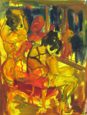 Window Prostitution Study 2 - 2013 - oil on paper - 29,7 x 21 cm
