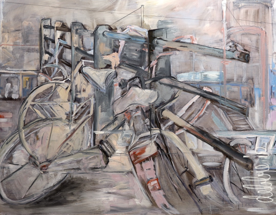 Bikes Over An Amsterdam Canal - 2012 - oil on linen - 155 x 200 cm