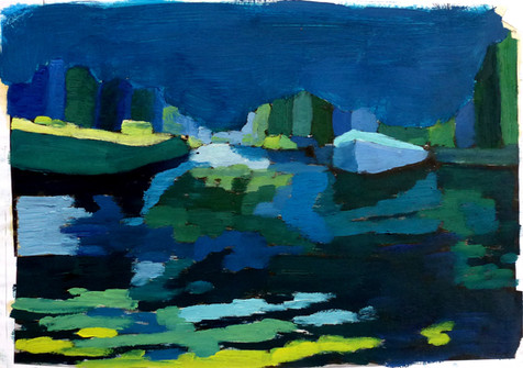 Amsterdam Canal Study 5 - 2011 - oil on paper - 21 x 28 cm
