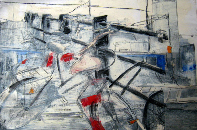 Study Bikes 1 - 2012 - oil on paper - 21 x 29,7 cm