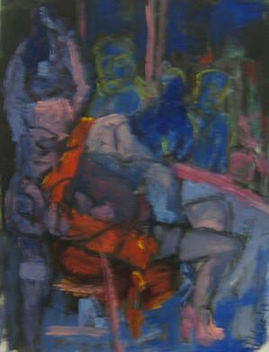 Window Prostitution Study 1 - 2013 - oil on paper - 29,7 x 21 cm