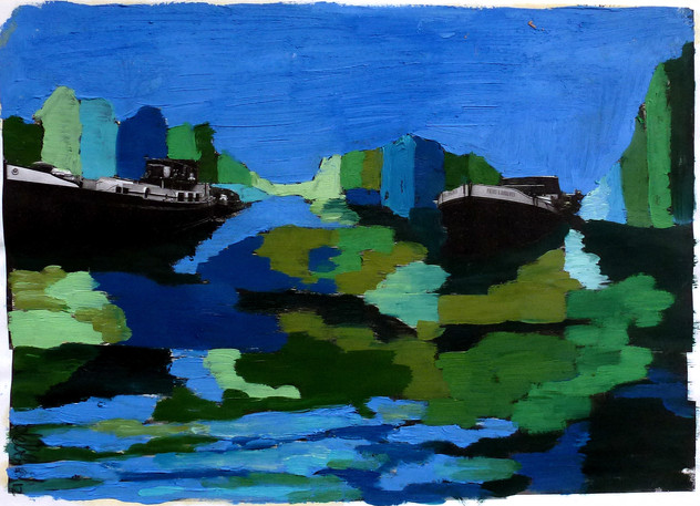 Amsterdam Canal Study 4 - 2011 - oil on paper - 21 x 28 cm