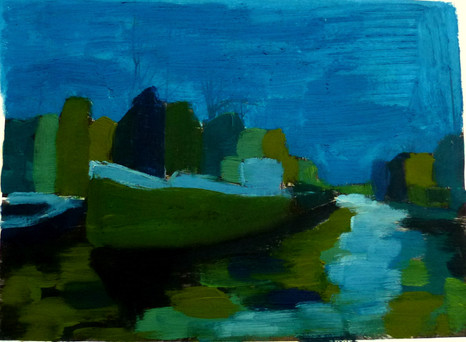 Amsterdam Canal Study 3 - 2011 - oil on paper - 15 x 20 cm